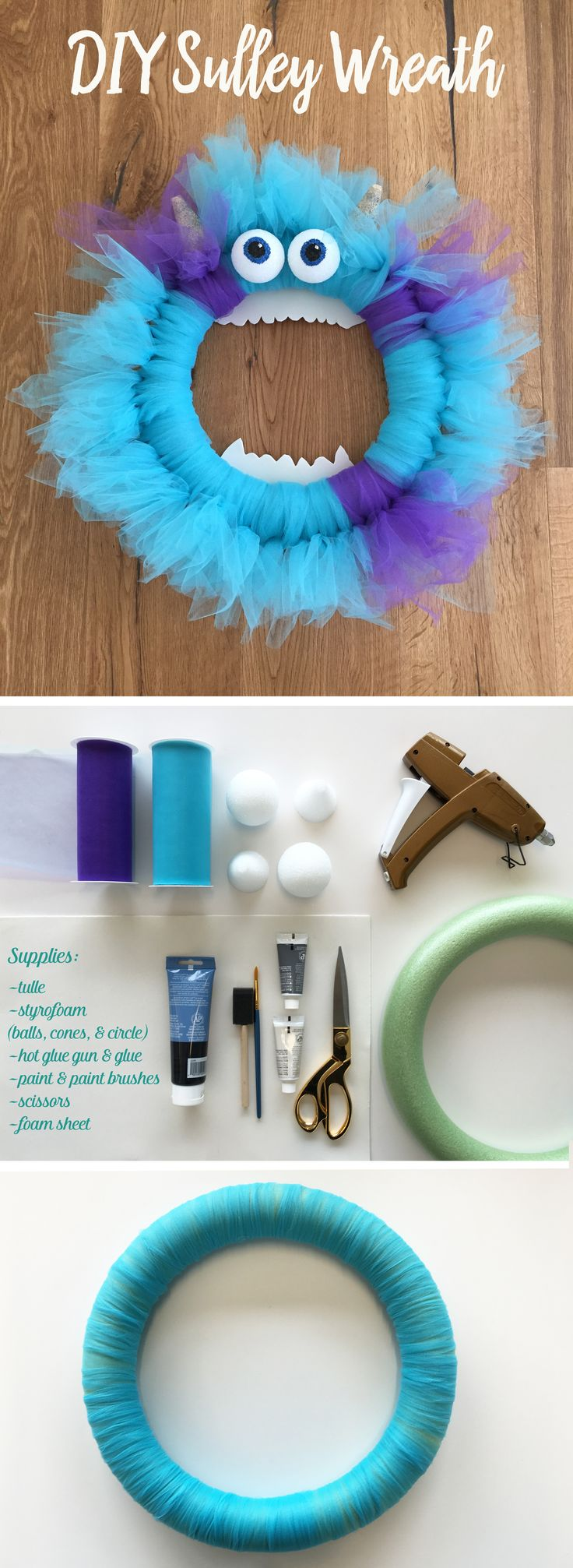This DIY Sulley Wreath will bring a little bit of Disney magic right to your door. This Monsters Inc. craft is quick and easy to make, and fun for kids and the whole family! All you need is tulle, styrofoam, hot glue, paint, paint brush, scissors, and foam sheets. #DisneyDIY
