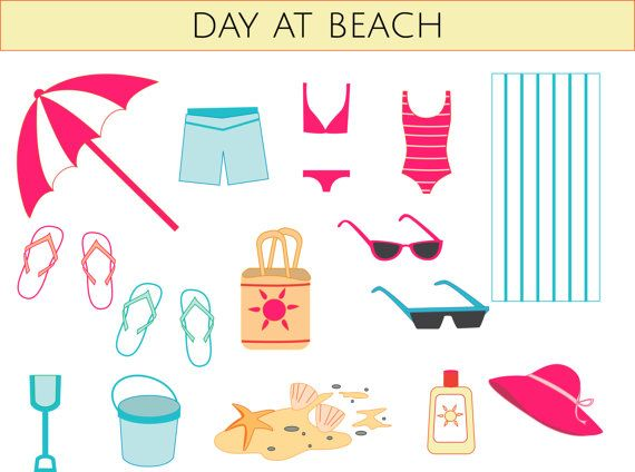 Cet plage clip art ensemble inclut :    haut de 1 bikini  bas de 1 bikini  1 maillot de bain rayé  1 paire de caleçons de bain  2 paires de