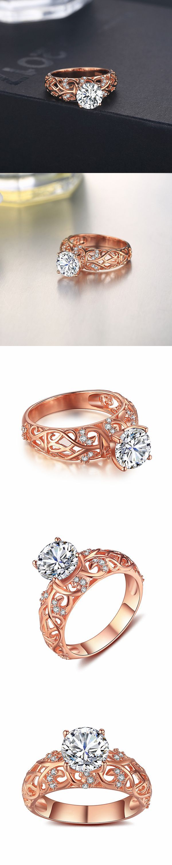 Lajerrio Jewelry Round Cut Gemstone Rose Gold S925 Engagement Ring