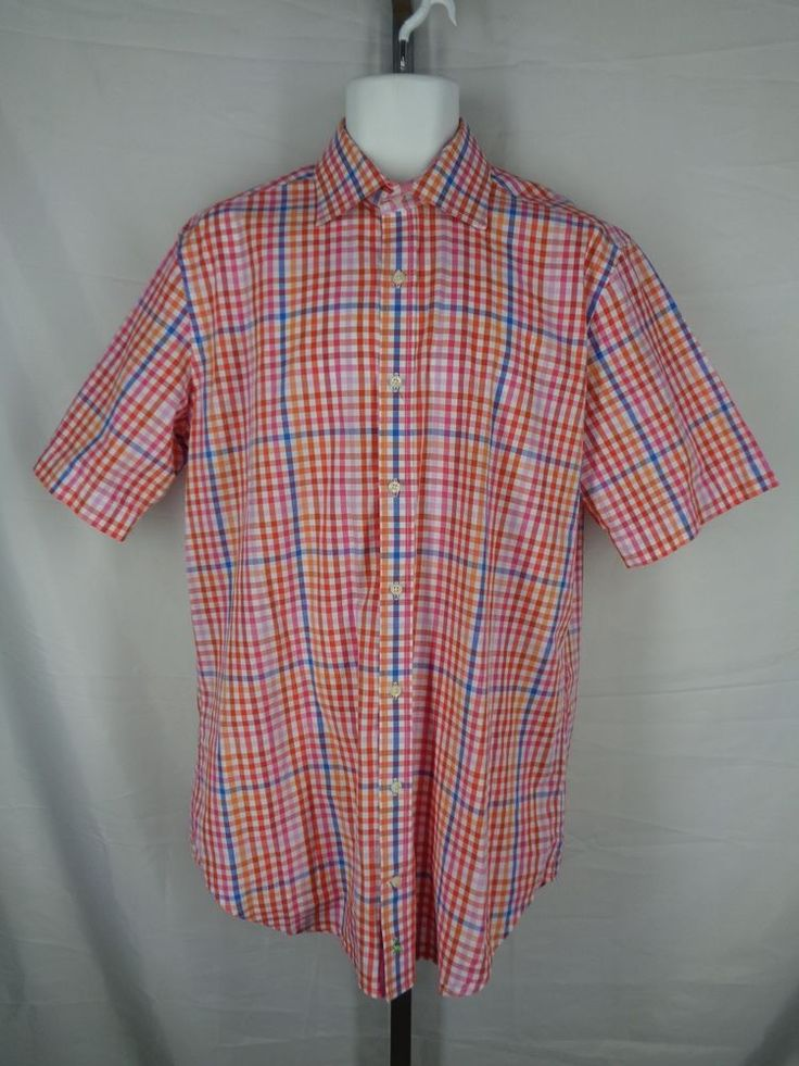 Tailorbyrd Gingham Plaid Check Shirt Mens Size LT Short Sleeve #TAILORBYRD #ButtonFront