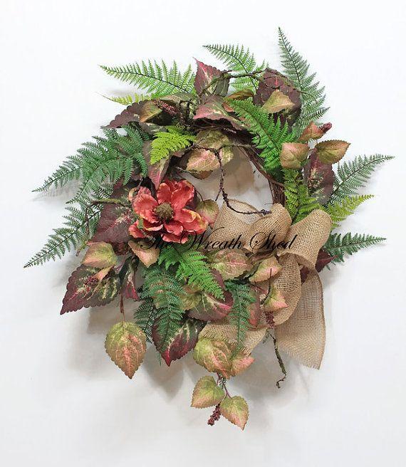 Farmhouse Fall Wreath, Outdoor Wreath, Greenery Wreath U0026 Burlap Bow, Fall  Leaf Wreath. Front Door ...