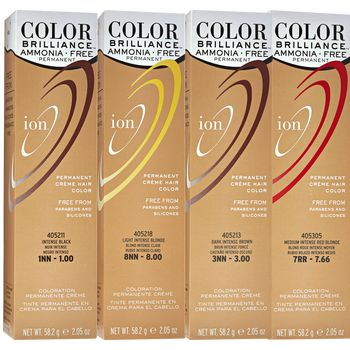 Ion Color Brilliance Ammonia Free Permanent Crème Hair Color is a gentle, non-damaging hair color that lifts and deposits without aggressive ammonia. | ION at Home