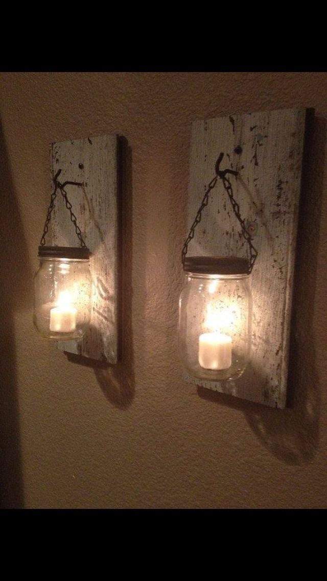 Use mason jars with candles inside for a simple but unique look!! Love it