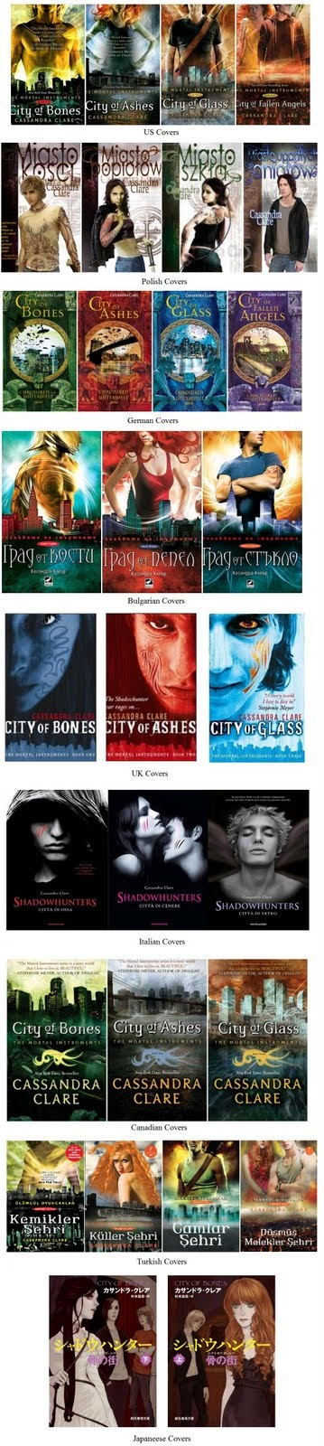 The many covers of Mortal Instruments... beautiful..