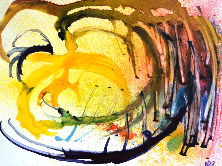 Plano Estacado - acrylic and ink abstract on cold pressed paper. For artist contact information see rloliverartist.com.