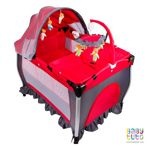Cuna Pack & Play con mudador y centro de entretención rojo, $109.990 (precio referncial). Marca Bebegló: http://bit.ly/1G3ZbZo