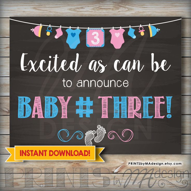 Baby Number 3 Announcement Photo Prop Printable Chalkboard, 3rd Baby Pregnancy Announcement, Baby #3 Expecting Announcement Sign Third Child by PRINTSbyMAdesign on Etsy https://www.etsy.com/listing/228913227/baby-number-3-announcement-photo-prop