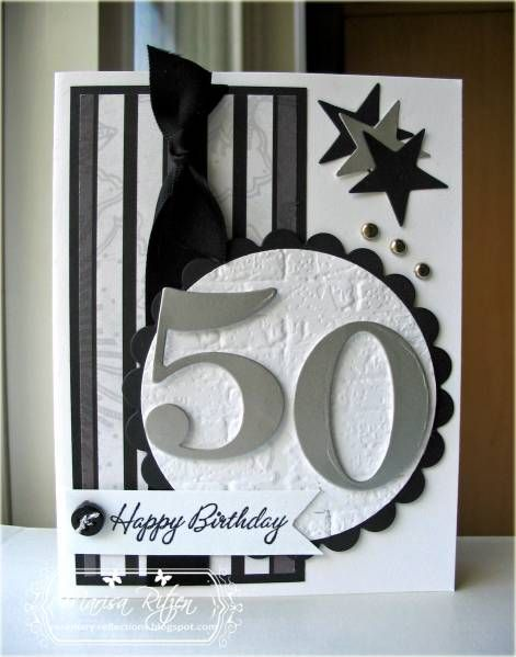 number on big circle, stars, bling, ribbon, button--it has it all! Might be the perfect card for a special mother turning 50 this year