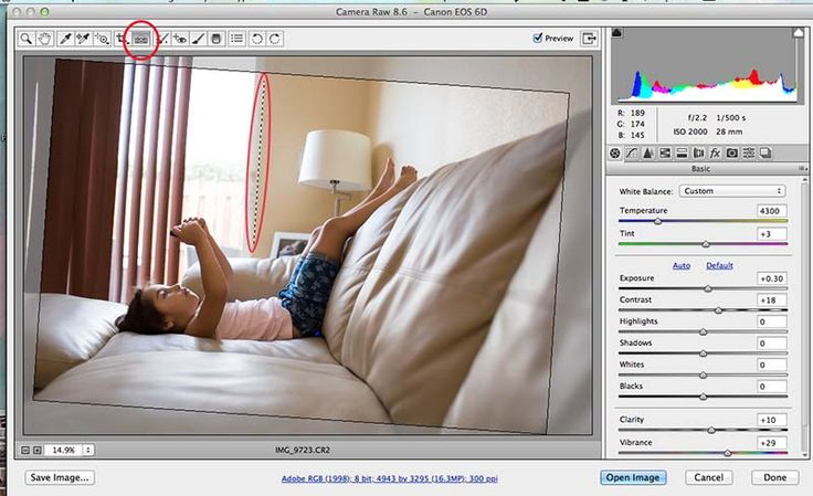 how to straighten a photo in Photoshop using ACR, Adobe Camera RAW.
