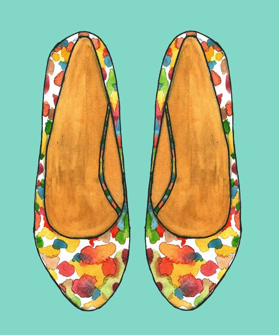 Watercolor colourful belly shoe by Rashmisillustration on Etsy