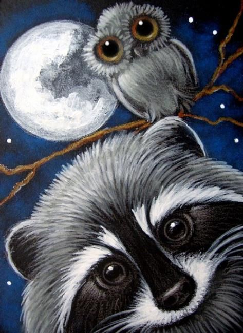 Art: LOVELY RACCOON & OWL AT NIGHT by Artist Cyra R. Cancel