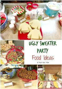 How to host an ugly Christmas sweater party. Ugly sweater party food ideas, ugly…