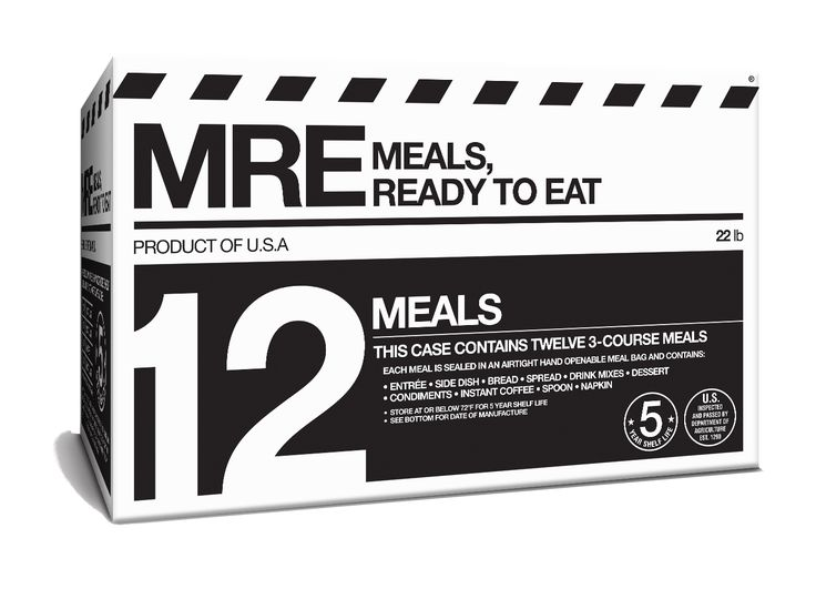"Not your grandpa's combat rations.®  BUY NOW ® Registered trademark          What are MREs?  ""The Director wanted to portray realism in an emergency situation that was progressing in intensity. When the"