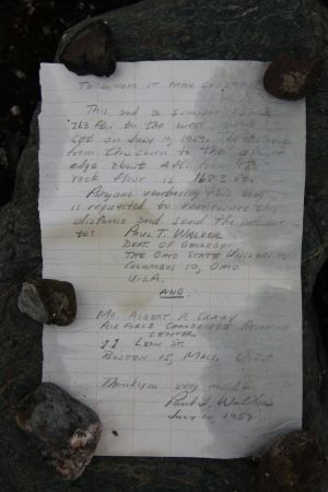Message in a bottle: In 1959, an American geologist built a rock cairn 1.2 metres away from this glacier. This summer, the cairn was 101.5 metres away.