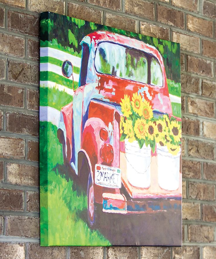 Vintage Truck Art + Summer + Baskets of Sunflowers on The ...