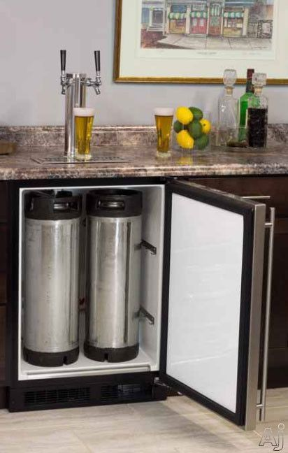 "Marvel ML24BTP3LP 24"" Built-in Beer Dispenser with Double Tap, Half Barrel Keg Storage, CO2 Tank and Other Accessories Included: Overlay Frame, Left Hinge 