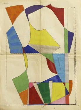"Saatchi Art Artist Hormazd Narielwalla makes collages from antique tailoring patterns   Collage, ""Le Petit Echo de la Mode No.59"" #art"