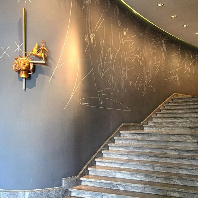 AL WALLS AND SCONCE   Beautiful mural and stairs at The Ritz #fourseasonshotel #lisbon built in 1959. #interiordesign #inspiration #tbt