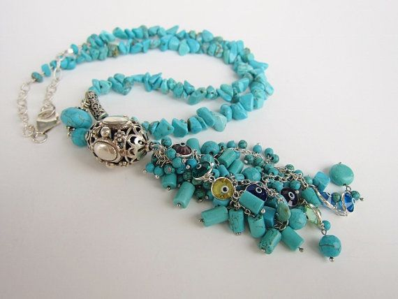 Unique Chunky Turquoise Tassel Necklace. Silver Evil Eye Necklace. Blue Dangle Gemstone Necklace. Middle Eastern Necklace. Chunky Jewelry