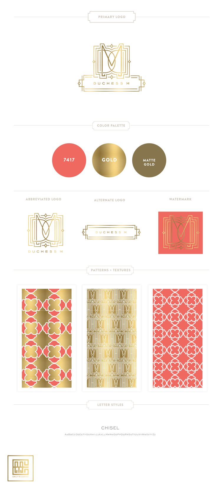 Branding Design for Duchess M  | Luxury Branding, Logo, Gold Monogram  |  Original Pattern Design | Retail Brand Design www.emilymccarthy.com