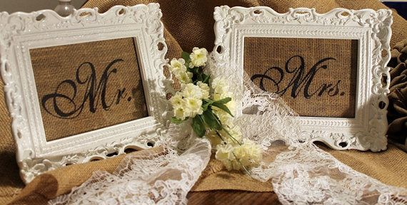 Large Burlap Mr and Mrs Wedding Signs by GGsBrierPatch on Etsy, $23.00