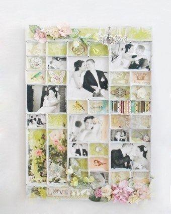 Идея для семейных фотографий - панно из спичечных коробков