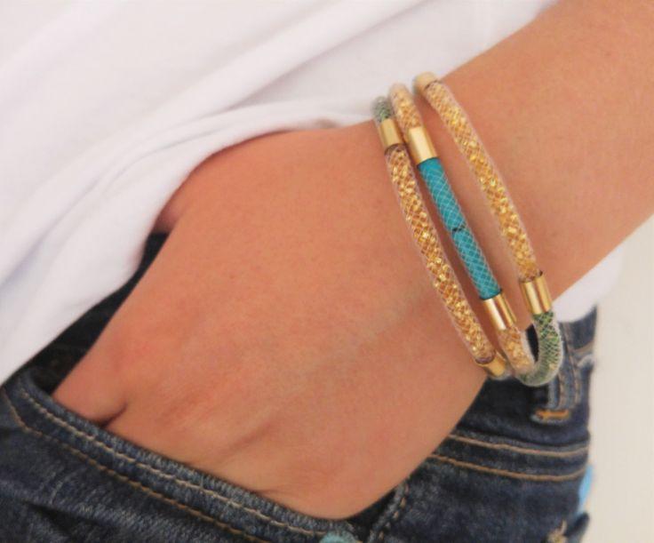 Tricolor thin Mesh tube bracelet, turquoise tubes mesh net wrap, dainty handmade gold glitter beads bracelet, stardust glamorous jewelry - pinned by pin4etsy.com