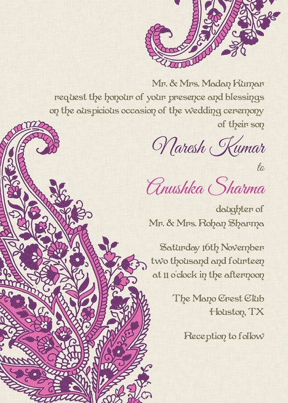 Indian Wedding Invitation: Pink Paisley Motifs - (Idea: Or, you could quill paisley motifs, photograph your quilling and have the cards printed up, for a really personal wedding invitation! All of the wedding colors could be planned around the same colors of the invite. HP)