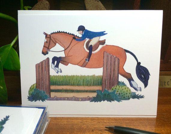 Handmade Illustrated Hunter Jumper Greeting Card: Bay Horse