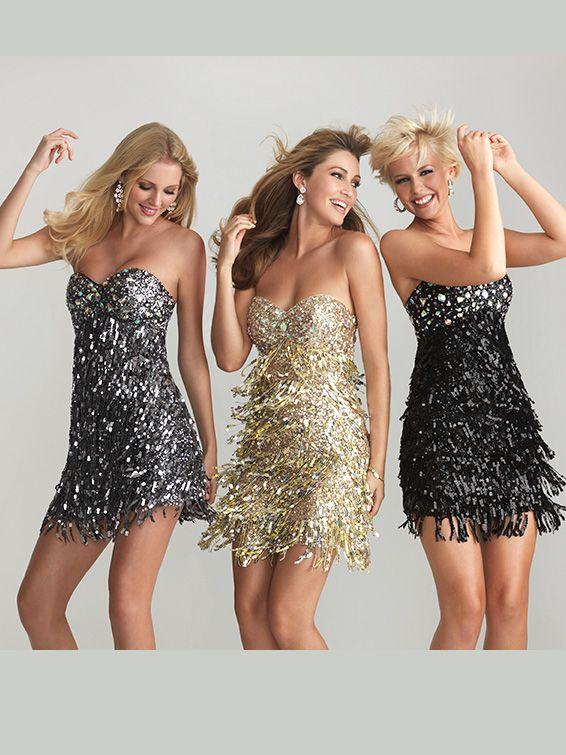 Night Moves Fringe Dress Gold