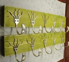 silverware art - Google Search....what to do with crappy old silverware? Make coat hook