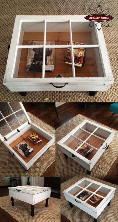 Storage coffee table made from old window. If we made the glass into photo frames, the storage would be hidden!