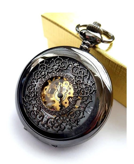 Black Pocket Watch Personalized Groomsmen Gift Engraved Pocket