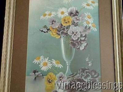 c1890 Henri LeRoy Pansies Daisies Victorian Antique Framed Print 1/2 YardLong
