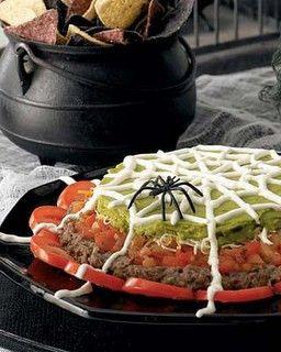 seven layer spider dip: Sour Cream, Halloween Idea, Tacos Dips, Beans Dips, Party Idea, Layered Dips, Halloween Food, Halloween Party, Spiders Web