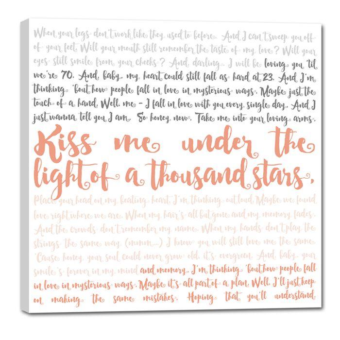 First dance lyrics on canvas - Thinking Out Loud #lyrics #canvas #anniversary…