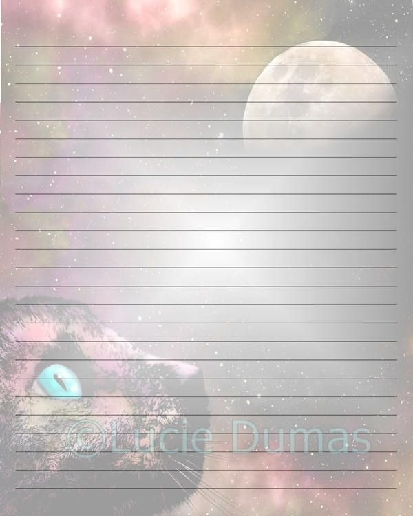 Digital Printable Journal writing lined Page Cat 619 space moon Stationary 8x10 Download Scrapbooking Paper Template art painting L.Dumas by DigitalsbyLucie on Etsy