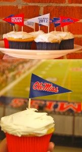 Top your cupcakes for the Egg Bowl with these free Ole Miss pennant printables! Just print, cut out and tape or glue to toothpicks.