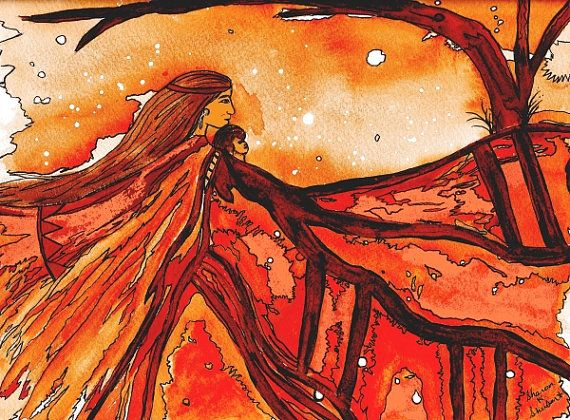 Mother Earth Folk Art Painting Southwestern Native American Inspired Red Orange Mixed Media Giclee Print 8 x 10