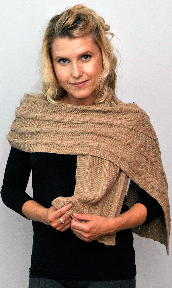 Cable Scarf Fawn – Stylish Cable Scarf with beautiful drape. Gorgeous for any occasion. 100% undyed alpaca made in New Zealand