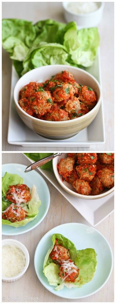 Baked Turkey, Quinoa and Zucchini Meatballs Recipe in Lettuce Wraps...174 calories and 4 Weight Watchers PP | cookincanuck.com #healthy #dinner