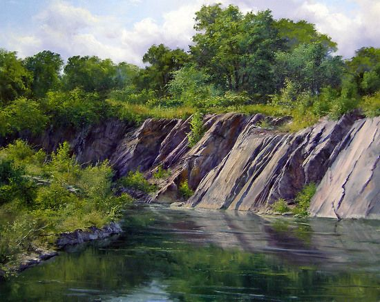 1000 images about paintings mountains and streams on for Landscape rock quarry alberta