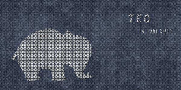Geboortekaartje jongen - olifant lief - Pimpelpluis  https://www.facebook.com/pages/Pimpelpluis/188675421305550?ref=hl (# simpel - eenvoudig - retro - naam - dieren - origineel - blauw - olifant - olifantje - silhouette)