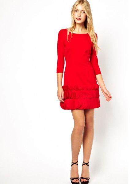 Red Ruffle Dress - Dress Xy