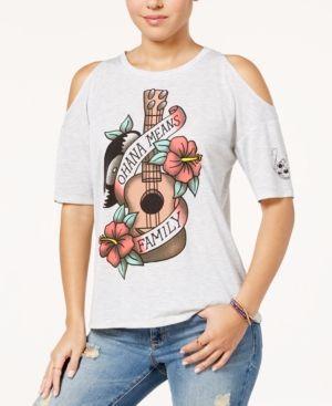 Disney Juniors' Ohana Means Family Cold-Shoulder T-Shirt - Gray XL