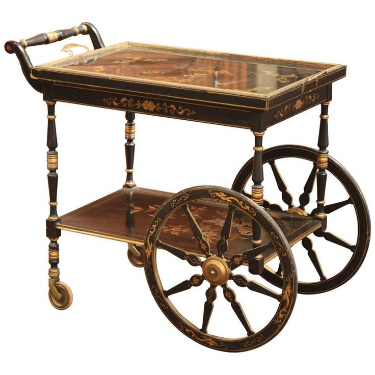 Early 20th Century French Hand-Painted Bar Cart with Chinoiserie Motifs | From a unique collection of antique and modern carts and bar carts at https://www.1stdibs.com/furniture/tables/bar-carts/
