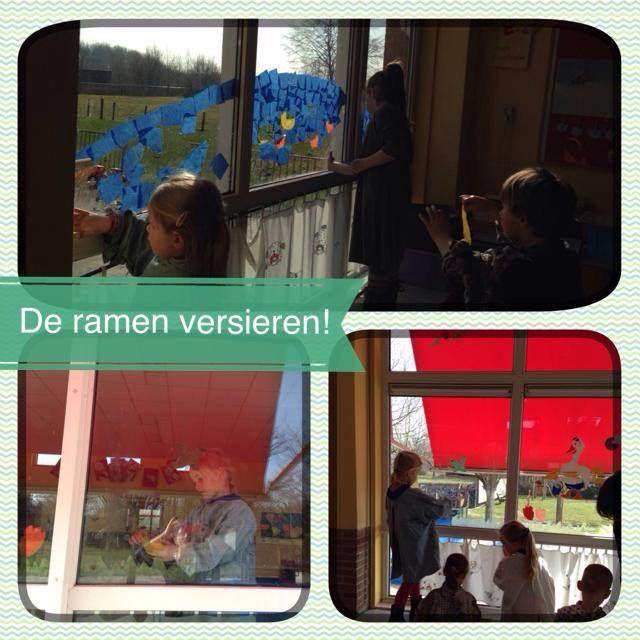 Ramen beplakken met vliegenpapier! Mooi en makkelijk schoon te maken!!  Facebook.nl/cbsdezonnewijzersiddeburen.nl
