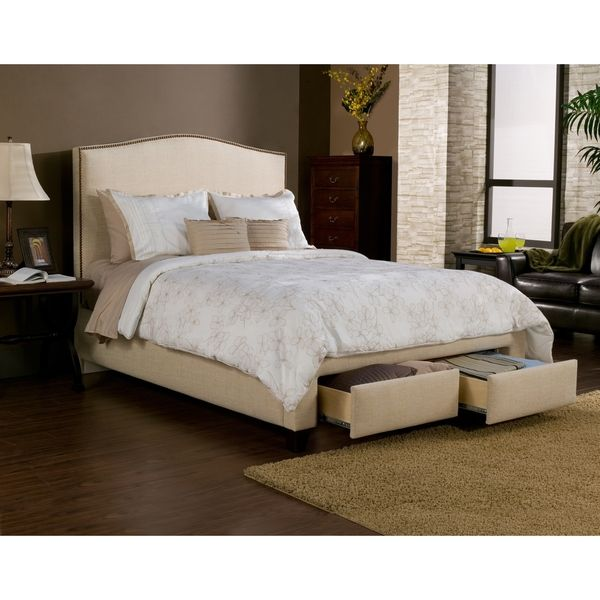 Newport Wheat/Beige 2 Drawer Upholstered Bed