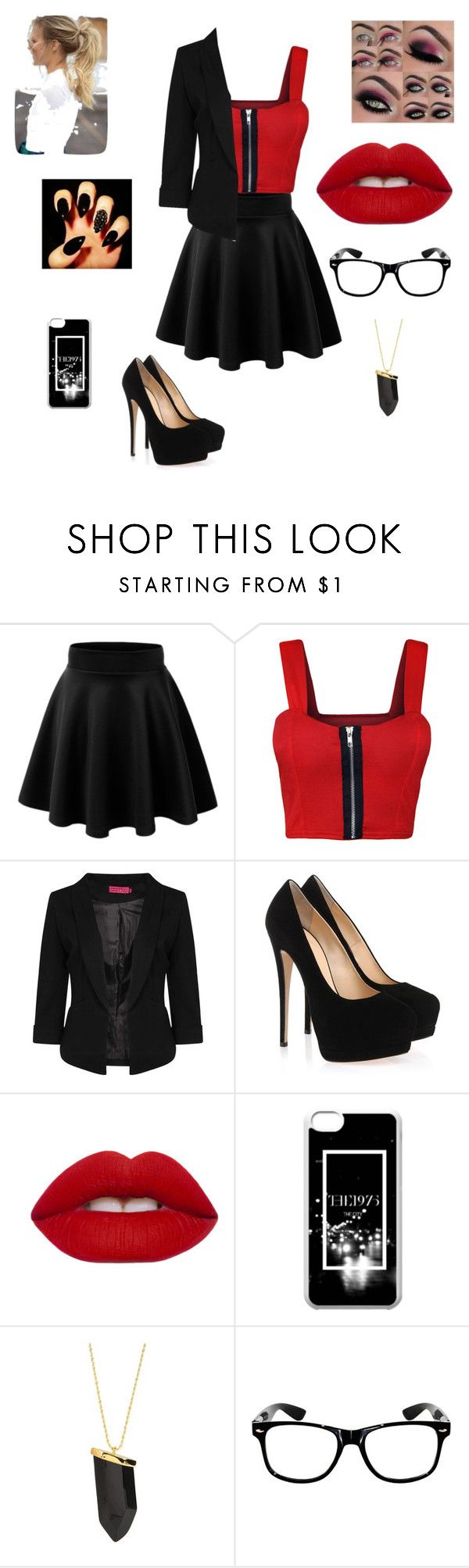 """""""❤️⚫️"""" by samhernandez14 on Polyvore featuring WearAll, Boohoo, Giuseppe Zanotti, Lime Crime and Kenneth Jay Lane"""