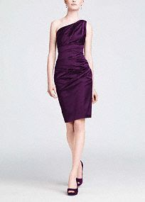 Elegant and on trend, you will love the way you look in this fabulous stretch satin dress! One shoulder bodice is exquisite and sure to wow. Banded waist creates a slimming silhouette. Ruching detail adds dimension and flatters any figure. Lined bodice. Back zip. Imported polyester. Dry clean.A smooth fabric often used in bridal gown design because of its exquisite drape.
